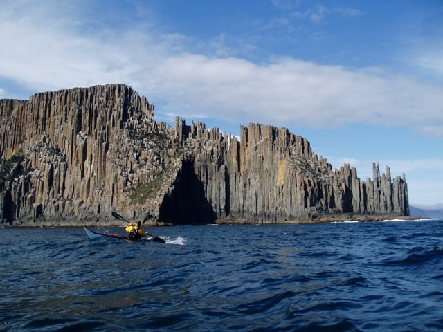 Trys at the dolerite columns of Cape Raoul after the longest crossing of the trip. Circumnavigation of Tasmania - Photos via Justine Curgenven -19