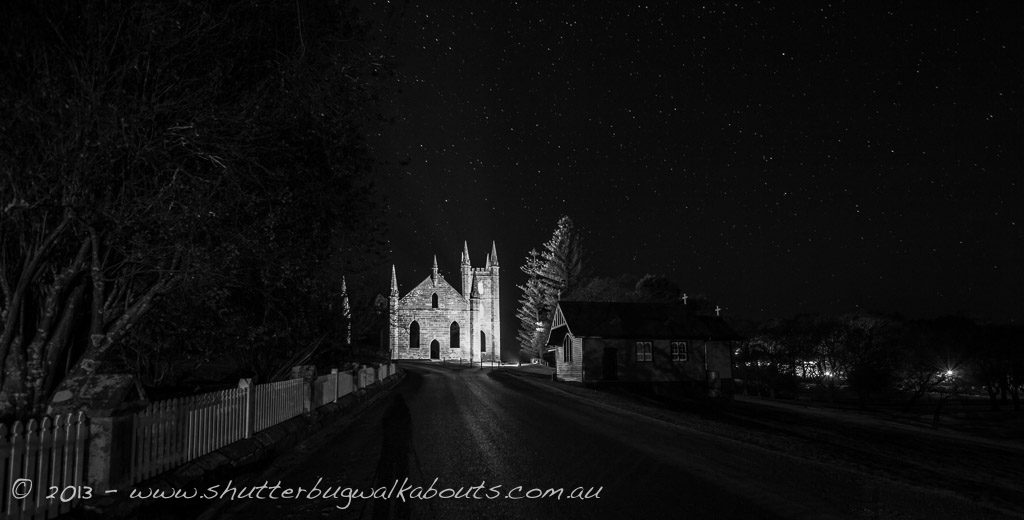Historic church ruins at night-Port Arthur-- courtesy of Shutterbug Walkabouts