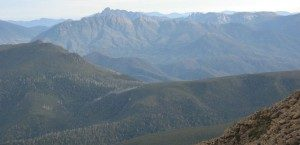 Looking into the steep quartzite mountains of SW Tasmania, from Mt. Picton