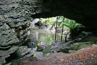 Trowotta Arch of dolomite looking through to cenote near Smithton.
