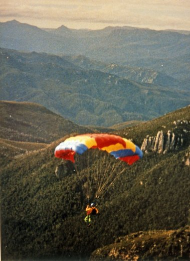 BASE Jump Frenchmans 14_Chris Flying Down To Lake Tahune_April1989_By Jenny Holyman