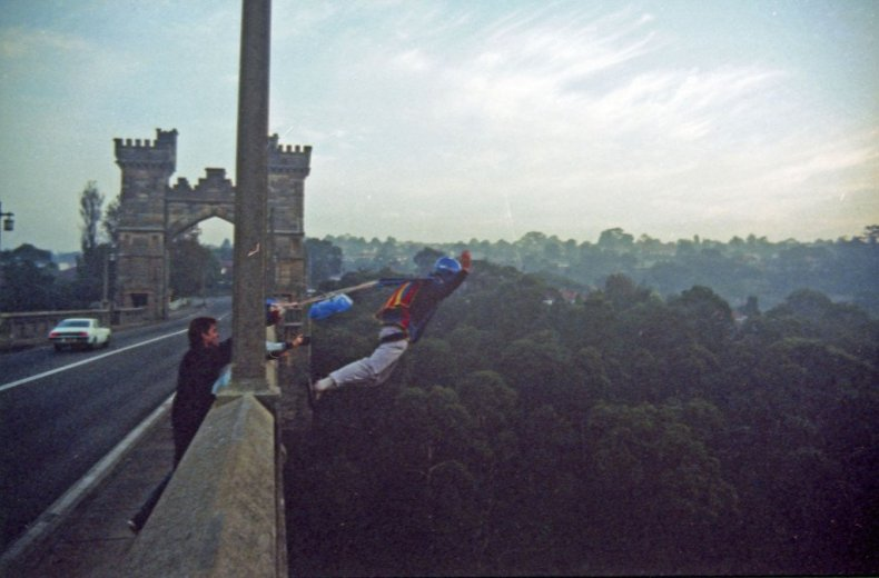 BASE Jump Frenchmans 1_Chris Jumping_Northbridge Sydney_April1988_Unknown Photographer