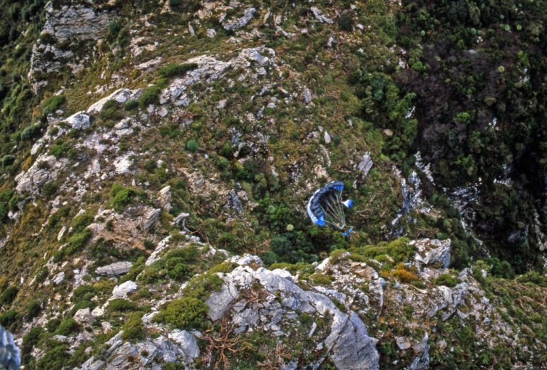 BASE Jump Frenchmans 9_Doug Landing Rough_July1988 by Chris Sharples