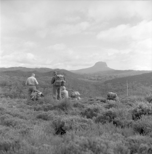Hikers near Cradle Mountain. Barn Bluff in background. Tasmanian Archive and Heritage Office (NS3195)_2400px