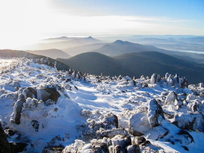 Mt Wellington summit in winter looking north - by Angus Munro