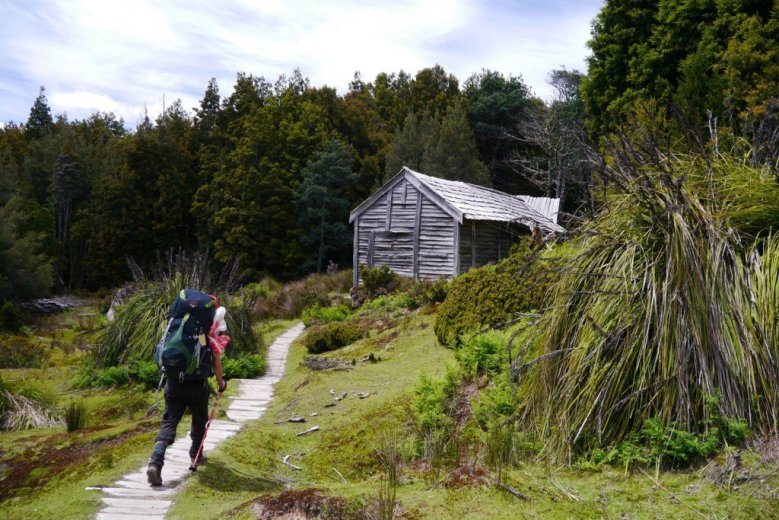 Approaching a heritage hut on the Overland Track