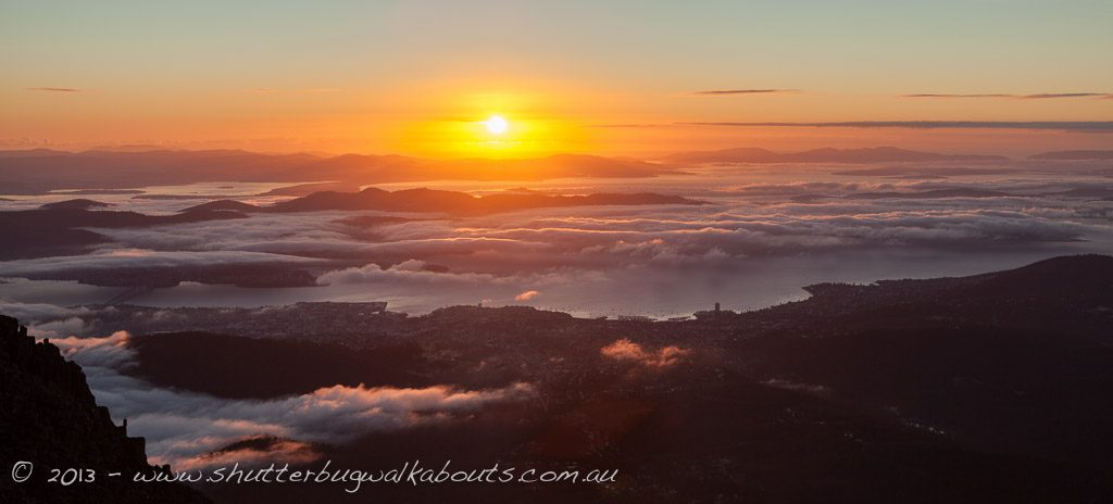 Sunrise and fog-Mt Wellington Summit- by Shutterbug Walkabouts