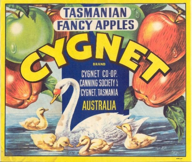 Cygnet apple label- Huon Valley Apples - Images Via Beth Hall