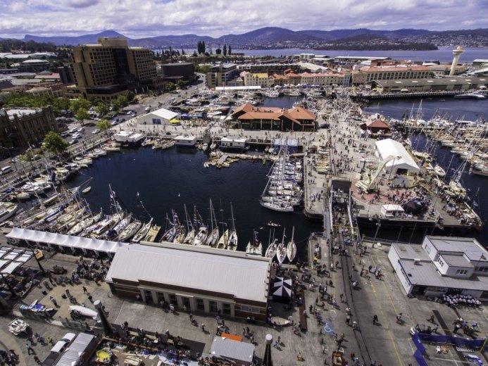 Aerial View of Australia Australian Wooden Boat Festival 2013, Hobart, Tasmania