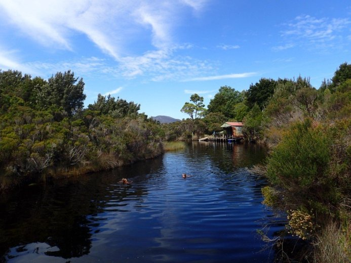 A dip in Moth Creek at Melaleuca – much swimming was had in the  tea-coloured waters - by Nicole Gill
