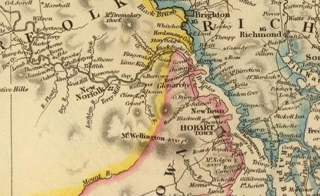 Detail from Van Diemens Land 1834 by J Arrowsmith - courtesy David Rumsey Map Collection - 001