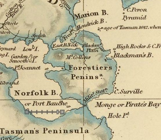 Detail from Van Diemens Land 1834 by J Arrowsmith - courtesy David Rumsey Map Collection - 003