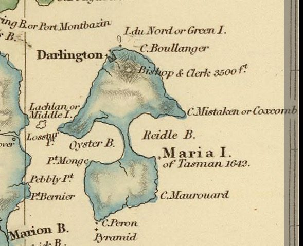 Detail from Van Diemens Land 1834 by J Arrowsmith - courtesy David Rumsey Map Collection - 004
