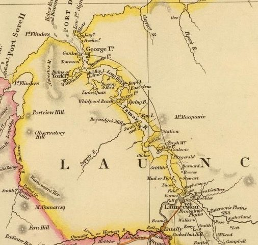 Detail from Van Diemens Land 1834 by J Arrowsmith - courtesy David Rumsey Map Collection - 007