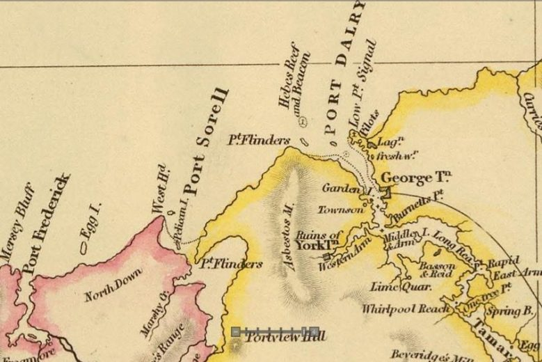 Detail from Van Diemens Land 1834 by J Arrowsmith - courtesy David Rumsey Map Collection - 008