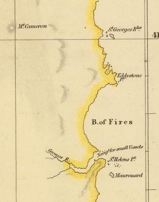 Detail from Van Diemens Land 1834 by J Arrowsmith - courtesy David Rumsey Map Collection - 016