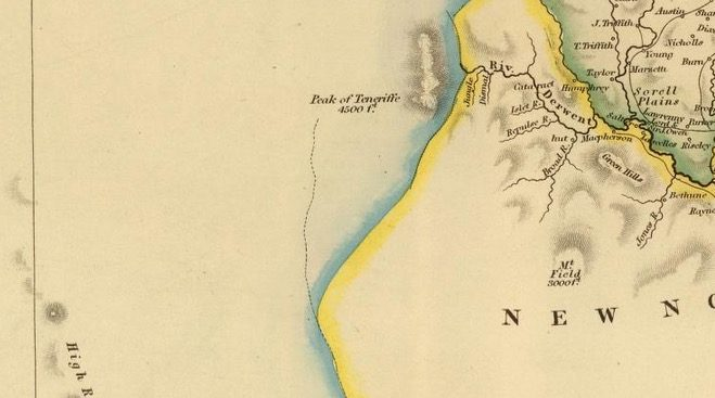 Detail from Van Diemens Land 1834 by J Arrowsmith - courtesy David Rumsey Map Collection - 018