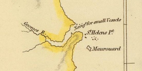 Detail from Van Diemens Land 1834 by J Arrowsmith - courtesy David Rumsey Map Collection - 028