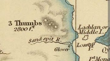 Detail from Van Diemens Land 1834 by J Arrowsmith - courtesy David Rumsey Map Collection - 037
