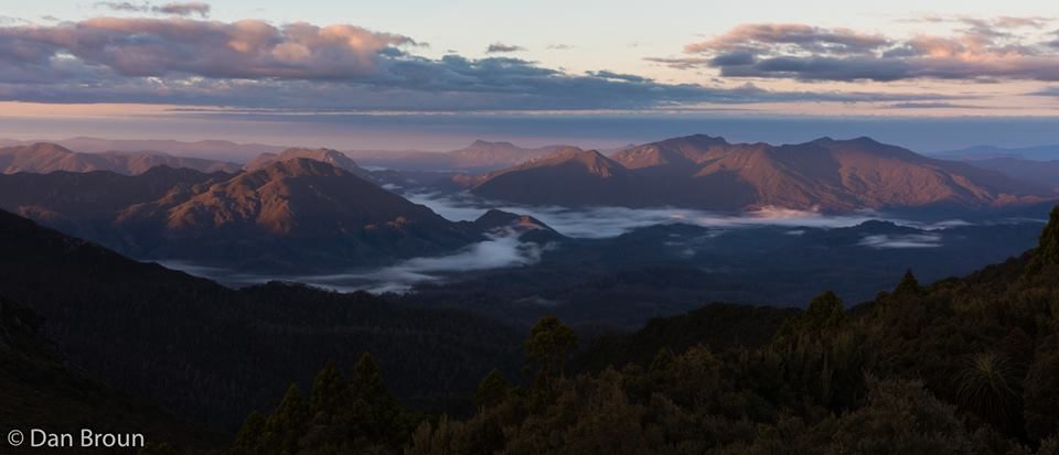 The Spiro Range, the Old River Valley and The Norolds, at dawn- by Dan Broun