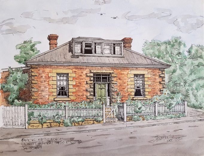Brick Residence, Dewitt Street Battery Point c1860 - Drawing by Horst Tiefholz