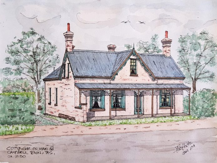 Cottage on Main Road Cambell Town c1830 - Drawing by Horst Tiefholz