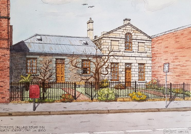 Former Dallas Arms Inn, North Hobart c1830 - Drawing by Horst Tiefholz