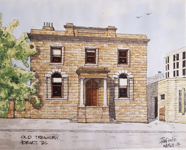 Old Treasury, Hobart - Drawing by Horst Tiefholz