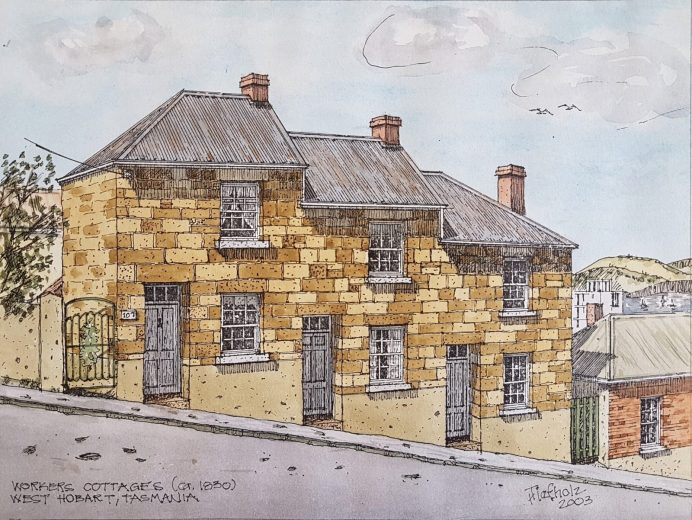 Workers Cottages, West Hobart c1930 - Drawing by Horst Tiefholz