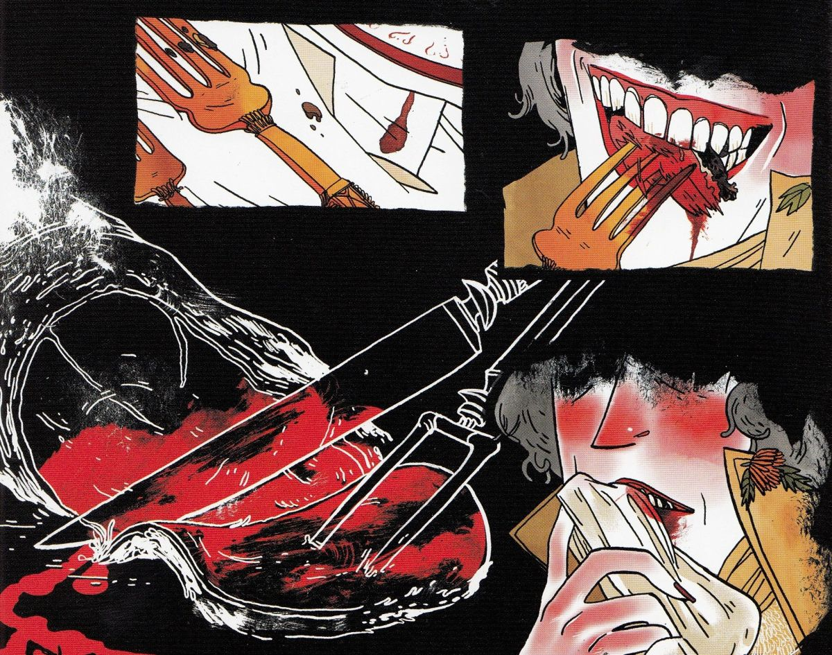 Person eating bloody meat by horror cartoonists Emily Carroll and Margaret K.