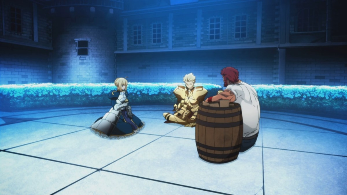 Three kings drinking wine from a barrel.