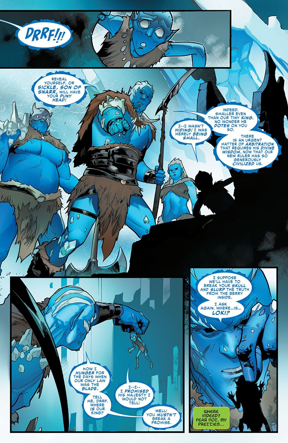 Loki #1: Page 5, Frost Giants Trying To Find Loki.