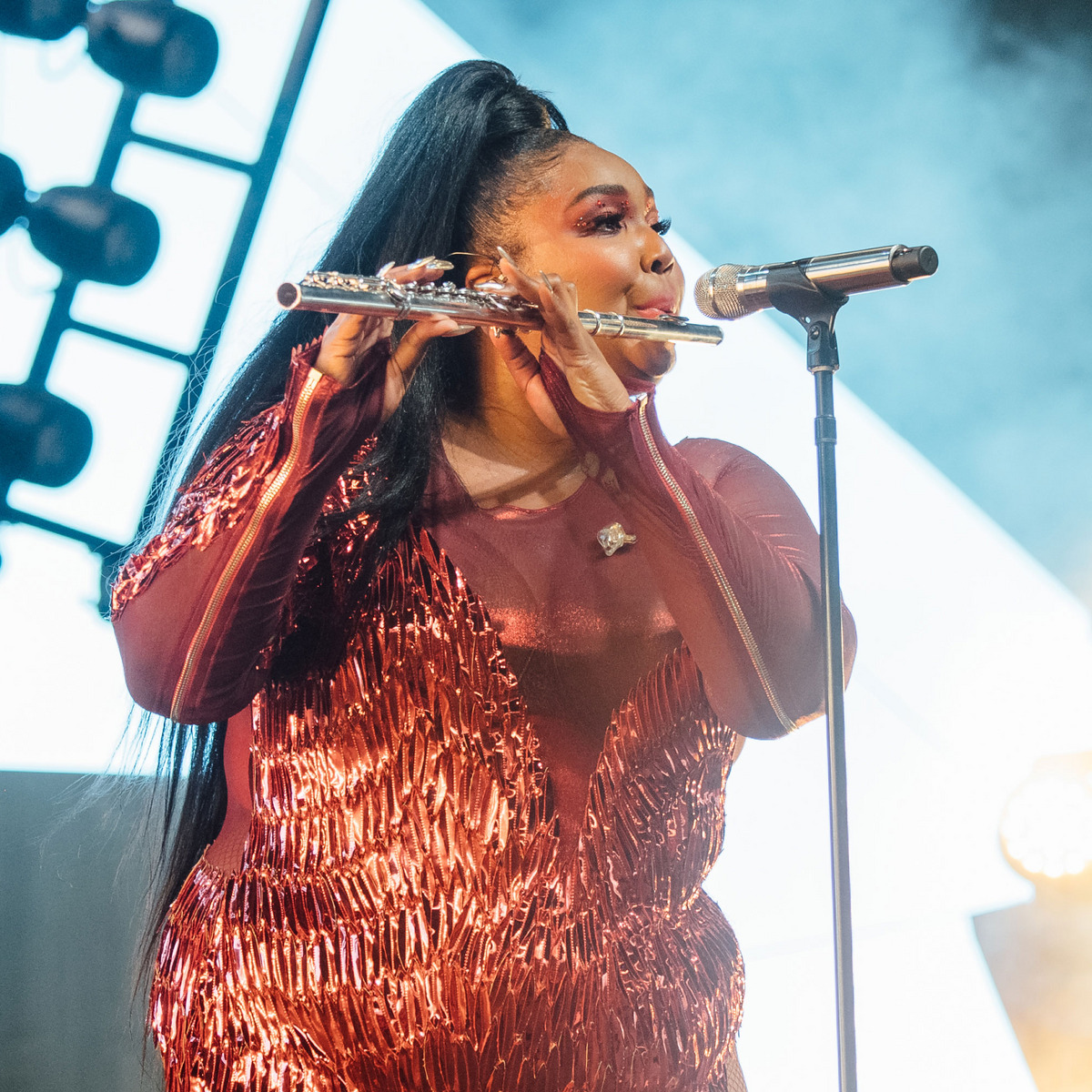 Lizzo playing the flute at Coachella 2019.