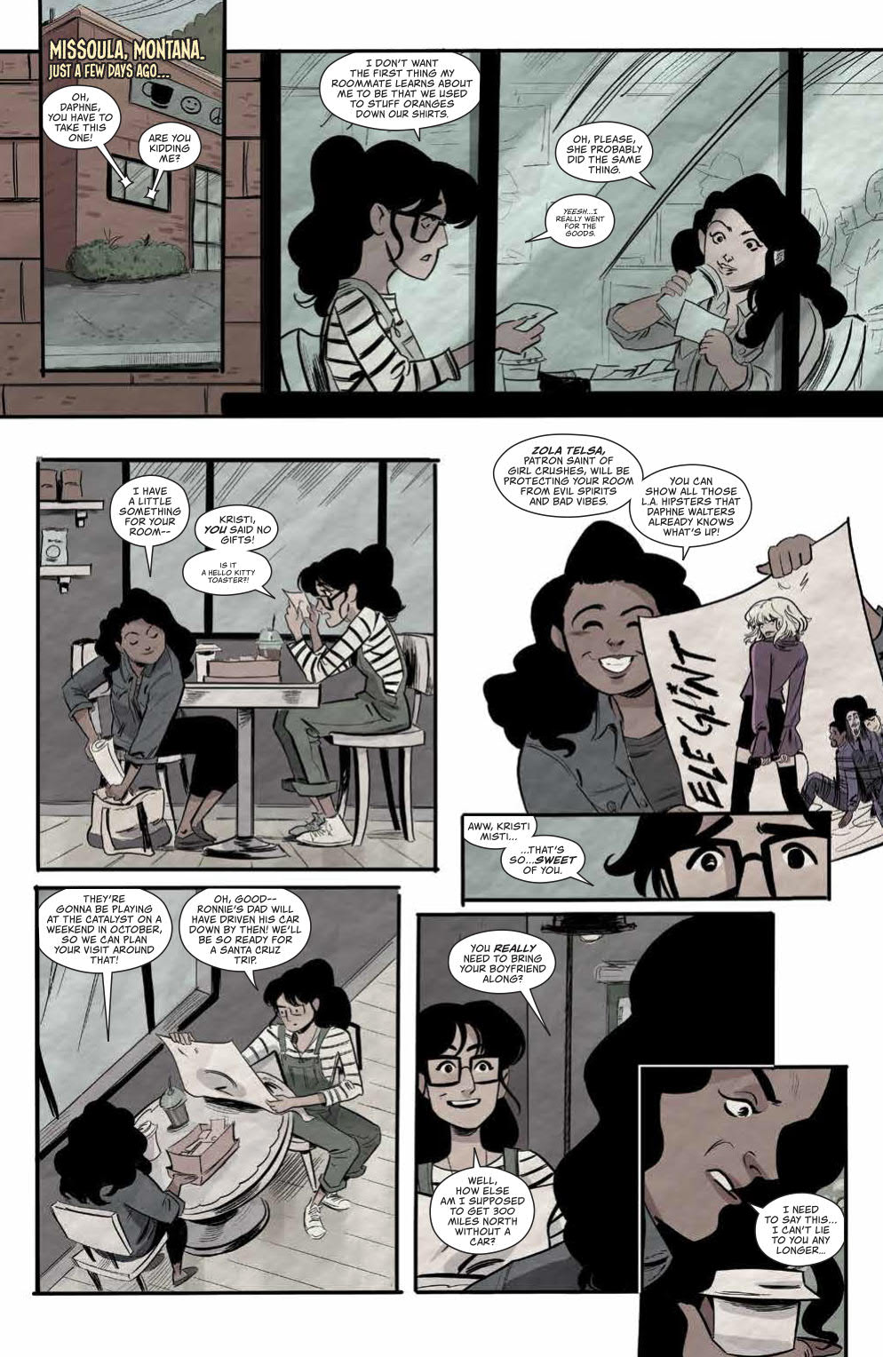 Ghosted In LA #1: Page 1, Kristi and Daphne In a Flashback