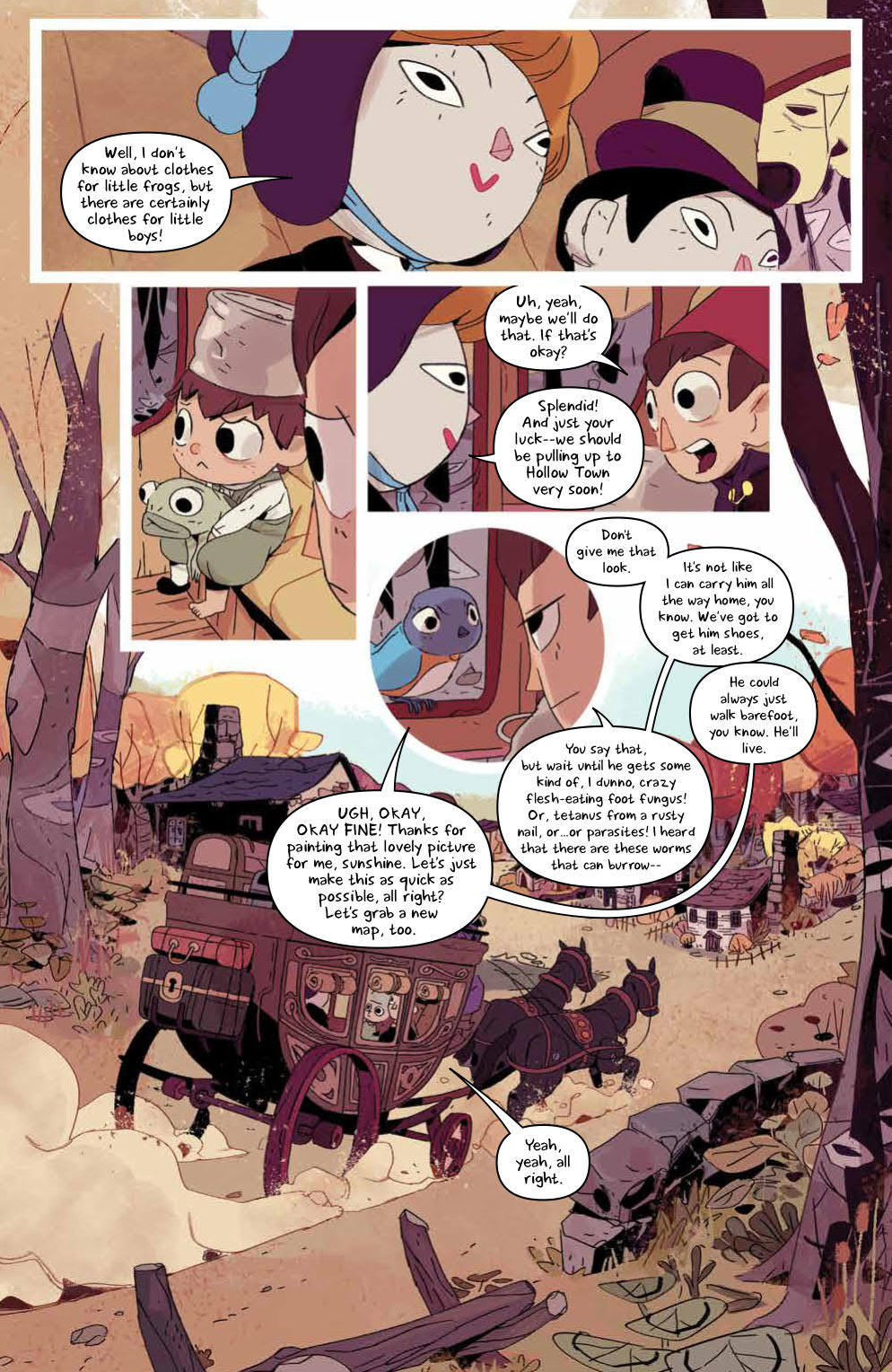 Over The Garden Wall: Hollow Town: Page 19, Dolls, Wirt, Greg and Beatrice arriving to Hollow town.