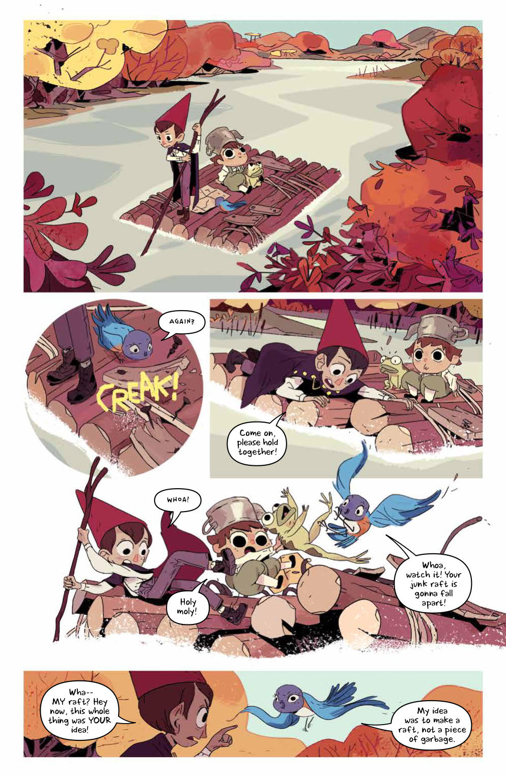 Over The Garden Wall: Hollow Town: Page 9, Wirt, Greg, and Beatrice on raft.