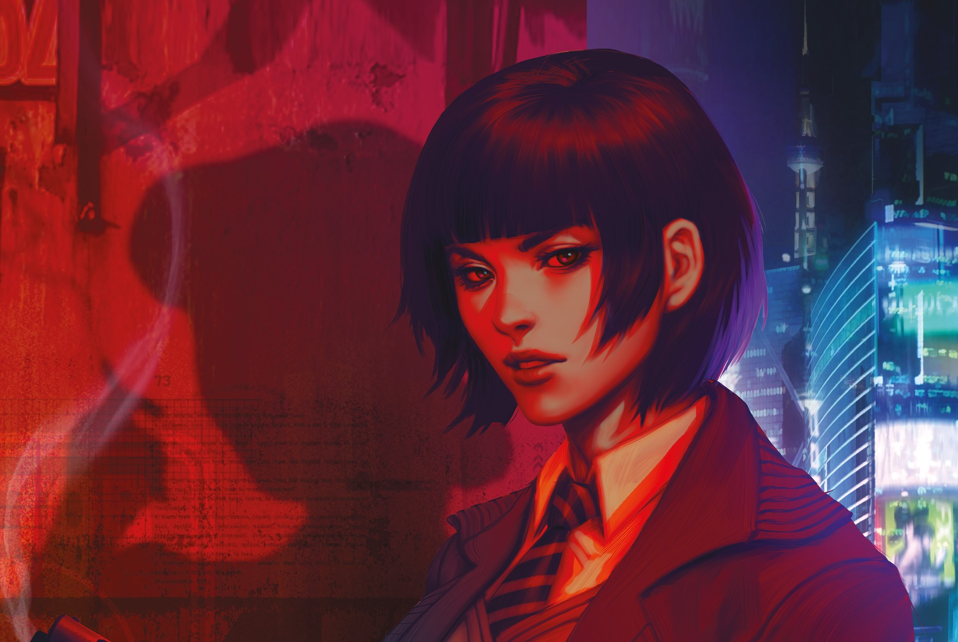 Cover of Blade Runner 2019 #1 featuring the shadow of Rachel behind Ash.