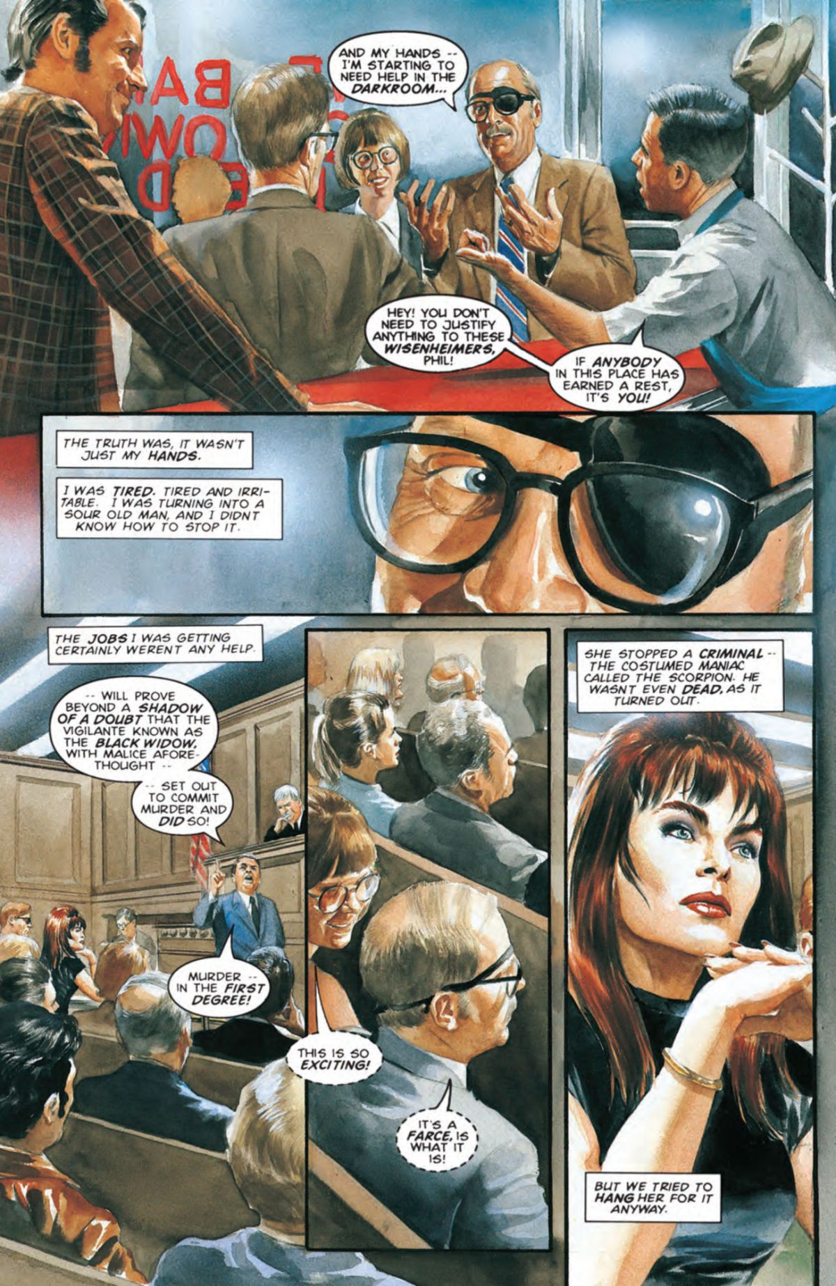 Phil Sheldon watching the case of New York vs Black Widow in Marvels #4.