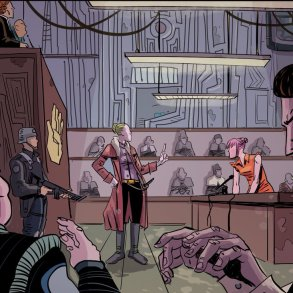 Portion of comic page for Gryffen Galaxy's Most Wanted by Ben Kahn