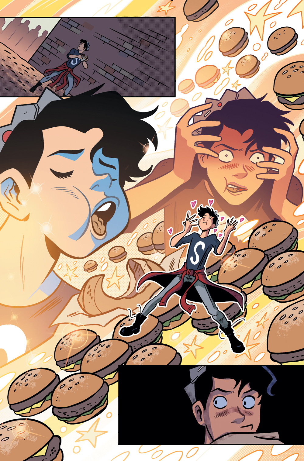 A hilarious moment of Jughead eating a hamburger in Jughead's Time Police #3.