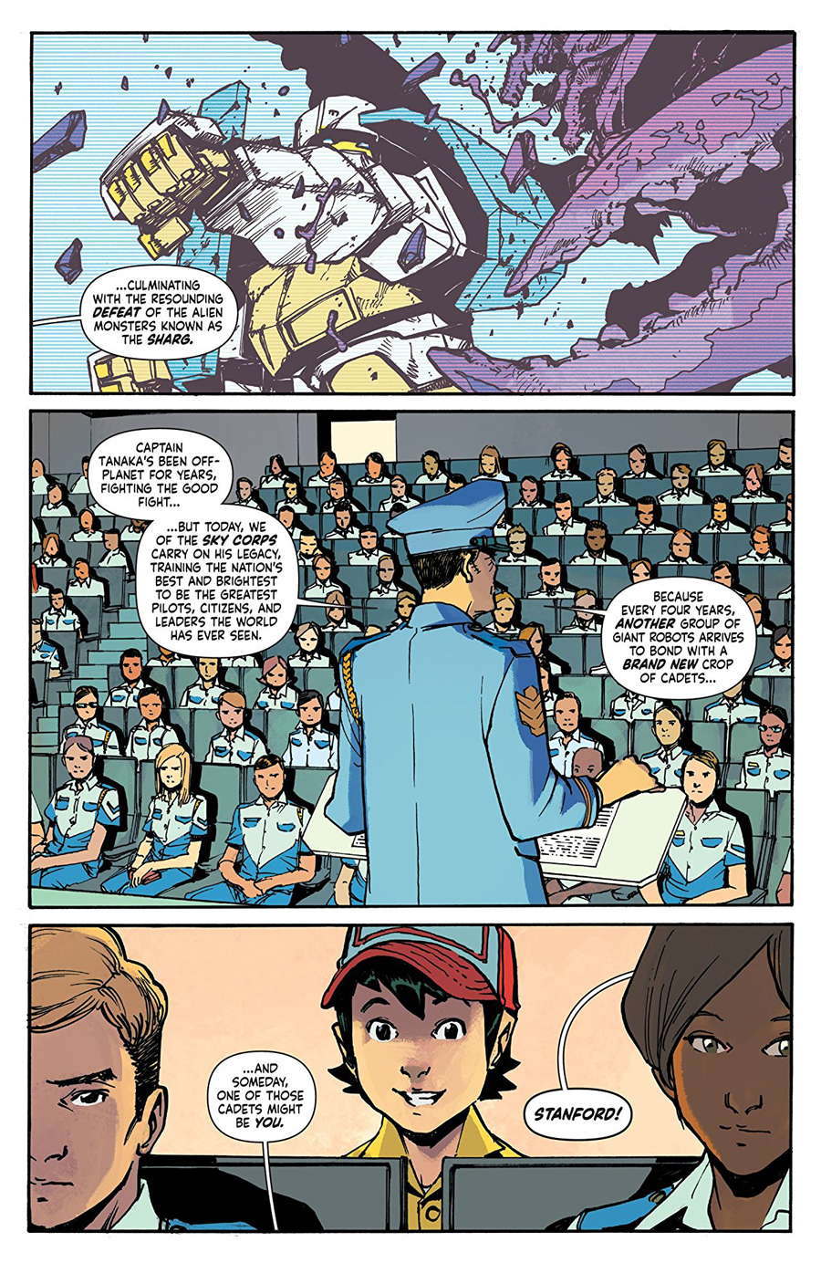 Stanford working as a janitor in Mech cadet Yu Vol. 1.