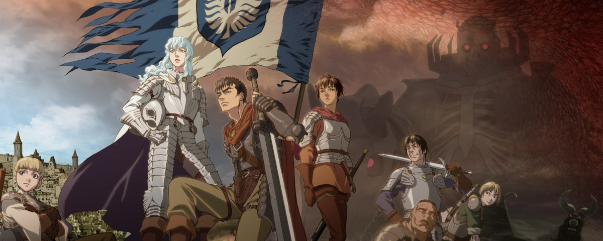 Standing from left to right: Rickert, Griffith, Guts, Casca, Pippin, Corkus, and Judeau.