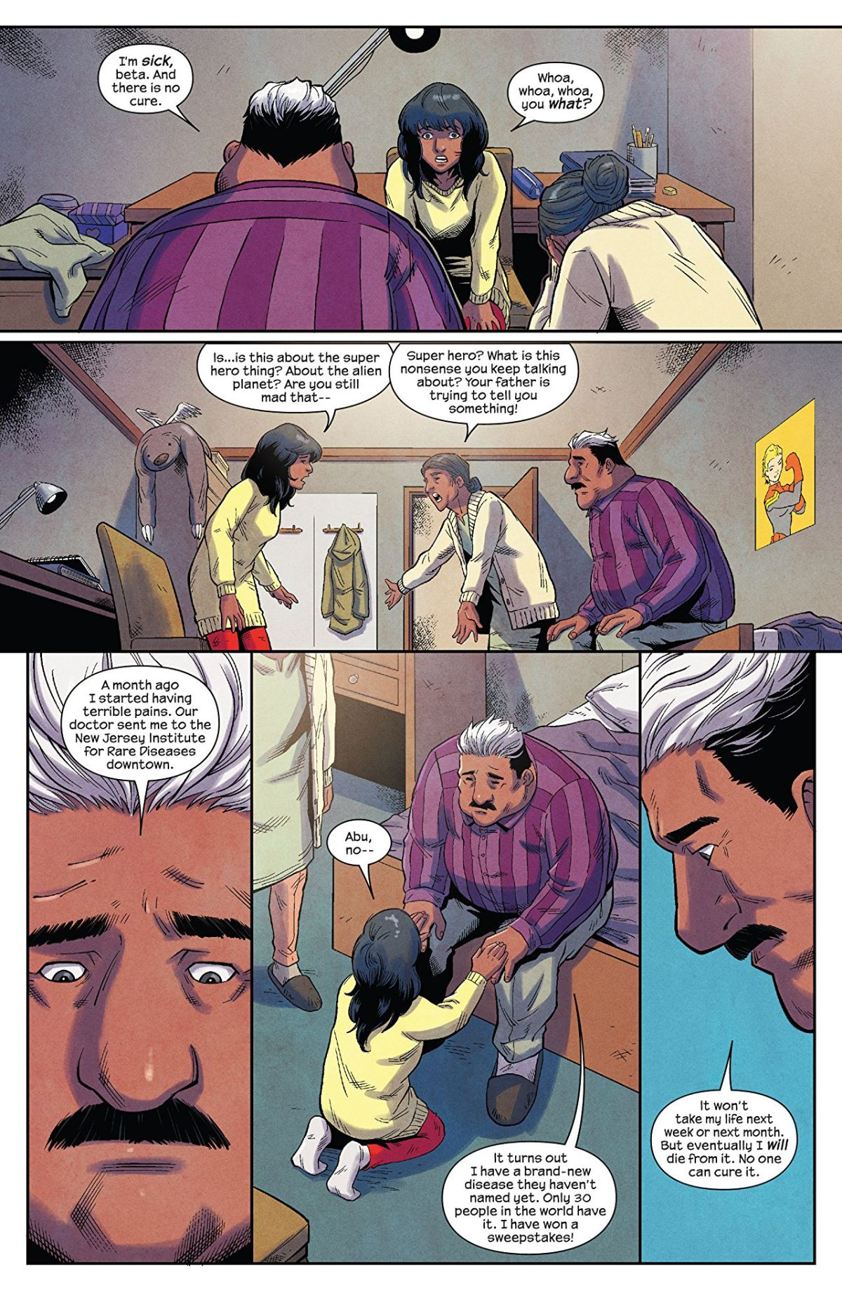 The Magnificent Ms Marvel #6: Page 2, Kamala learns about her father's illness.