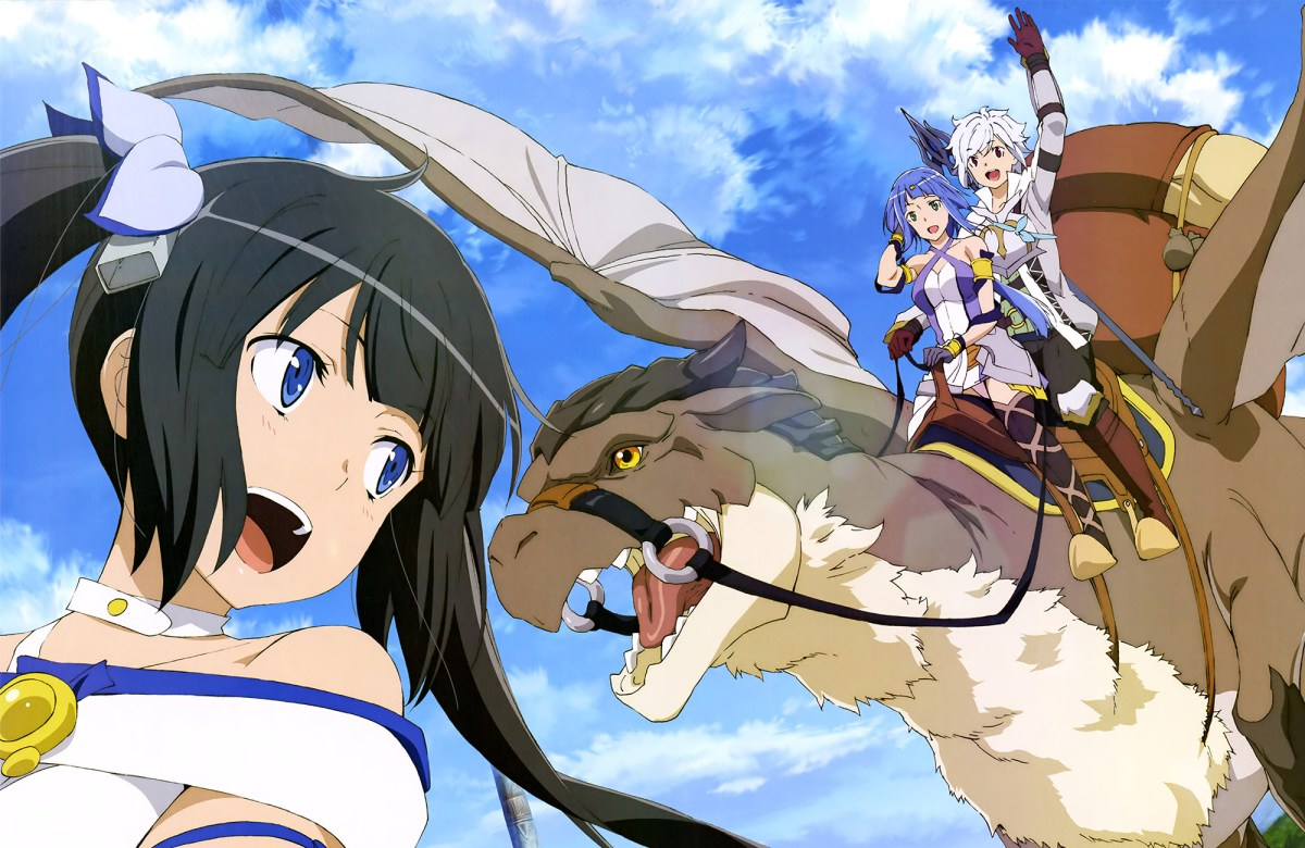 The characters of the film riding on a mythical looking flying dragon.