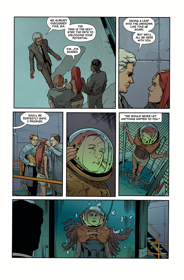 Stranger Things: Six -- Page 3 -- Six going into the deprivation tank.