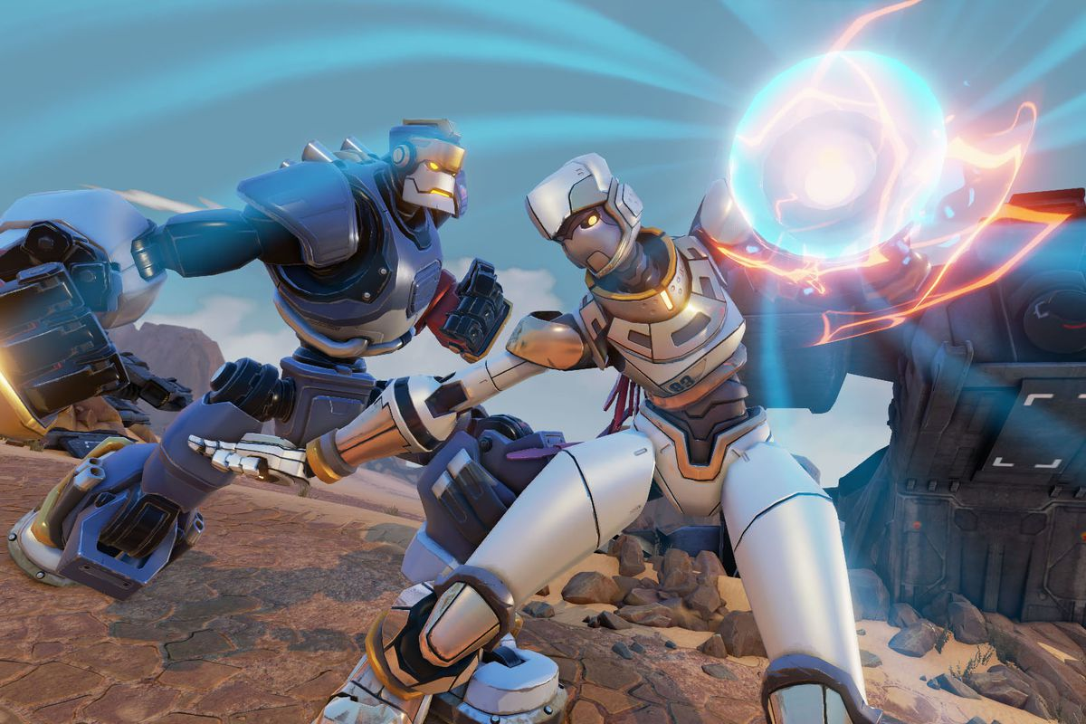 Rising Thunder depicting two robots fighting with electrical powers.