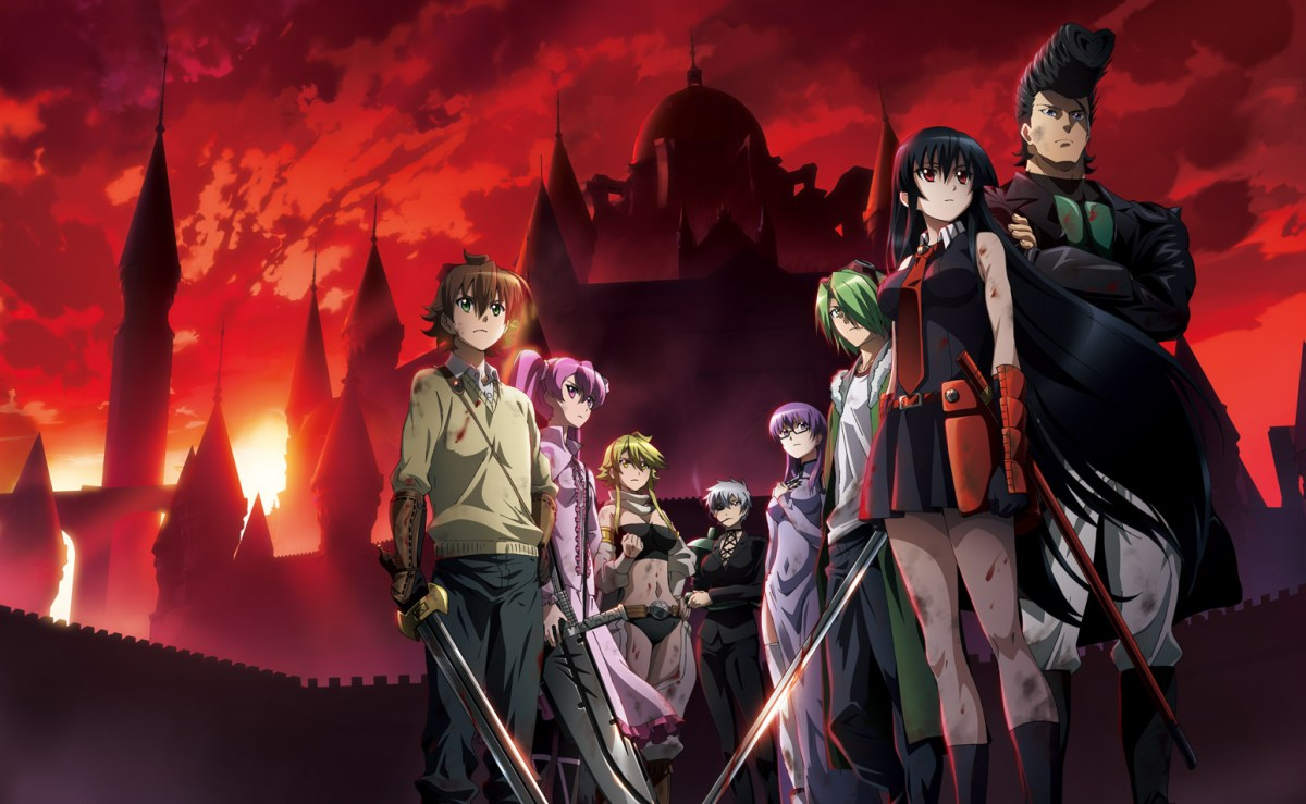 The assassin group, Night Raid standing in front of the capital. Standing from left to right: Tatsumi, Mine, Leone, Najenda, Sheele, Lubbock, Akame, Bulat.