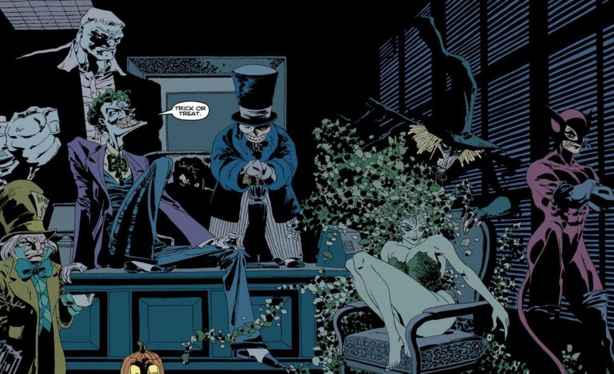 The Joker, Catwoman, Poison Ivy, Calendar Man, Solomon Grundy, Scarecrow, Mad Hatter, and The Riddler in a dark office