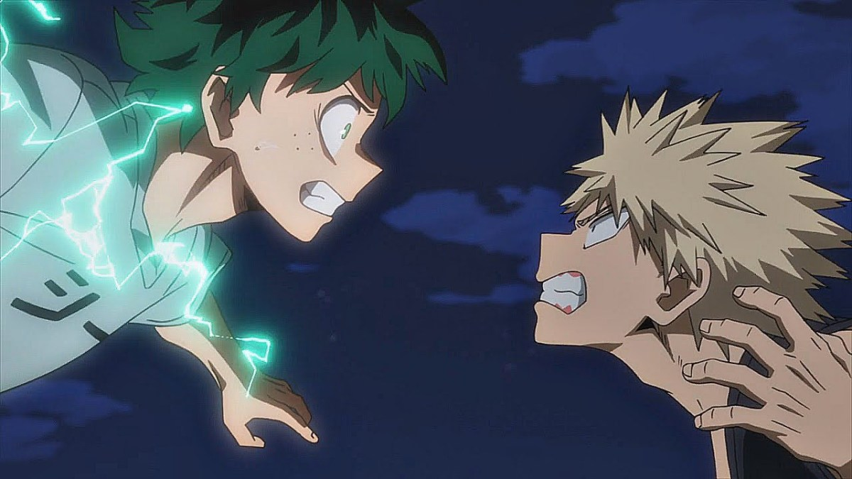 Midoriya and Bakugo getting ready to strike the first punches in a one-on-one combat.