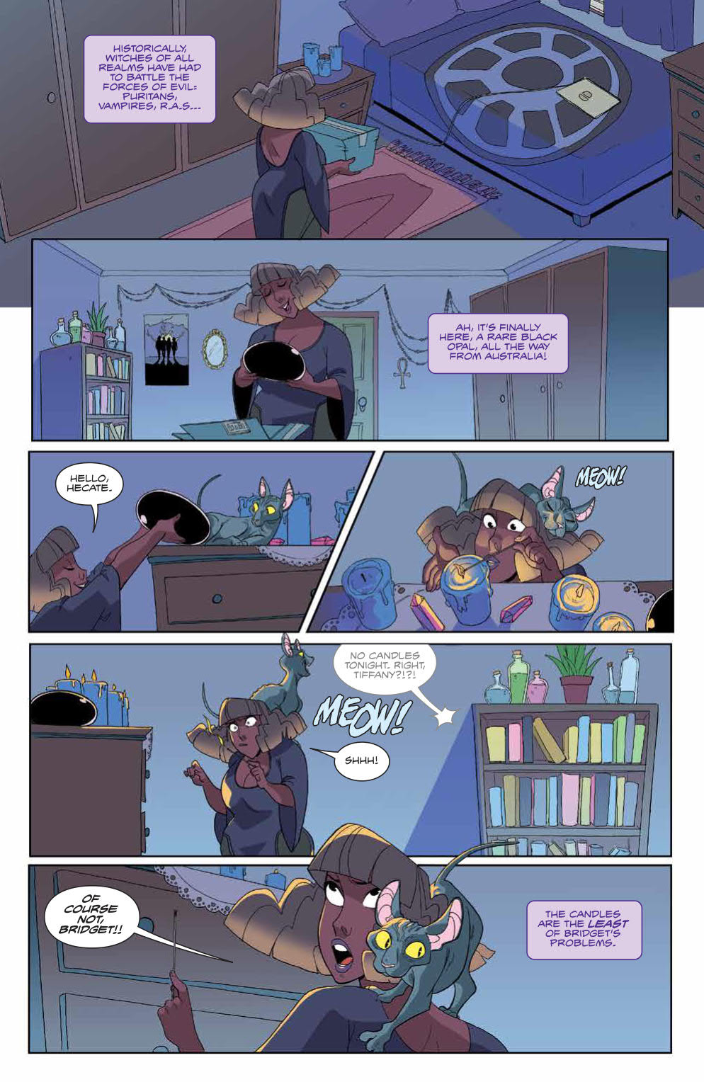 The Avant-Guards #8: Page 5, Tiffany lights candles next to her new, rare opal.